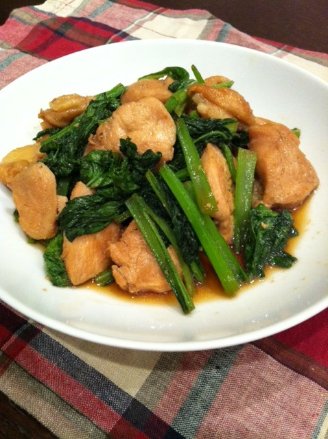 鶏と小松菜の焼肉風炒め
