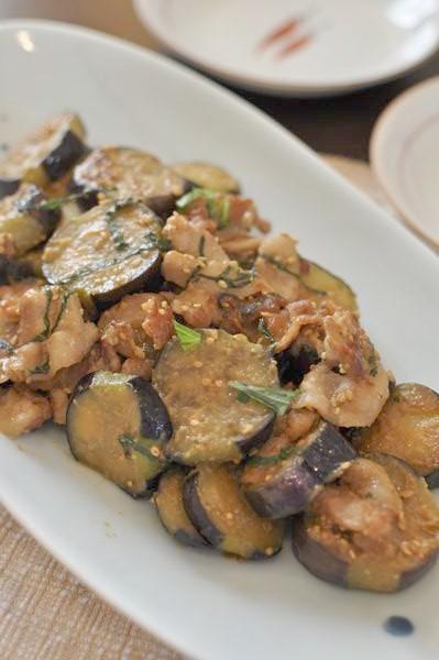 しそ香る茄子と豚肉の味噌炒め
