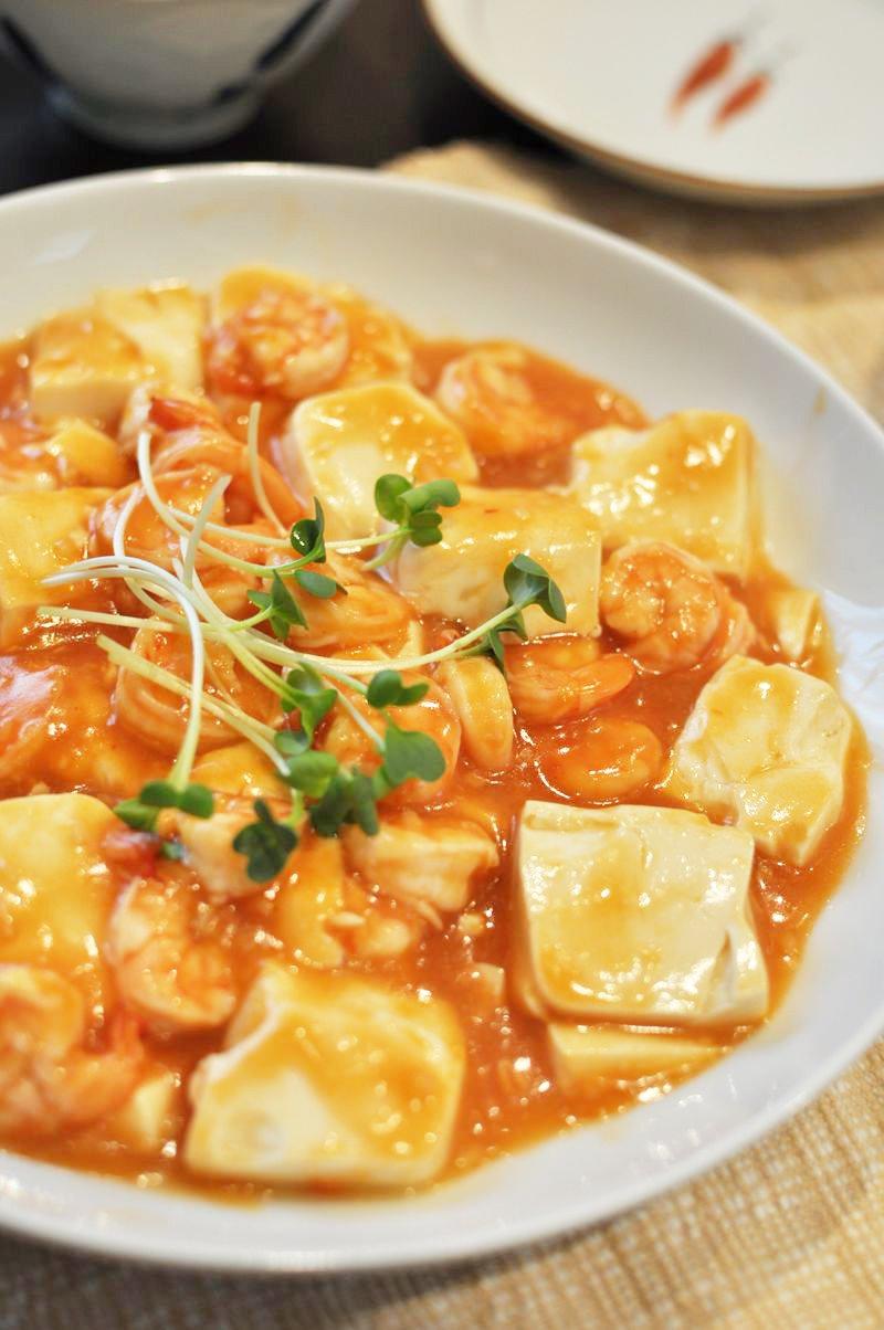 簡単エビチリ豆腐