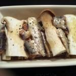 オイルサーディンとエリンギのパン粉焼き