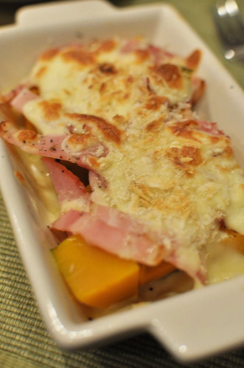 簡単かぼちゃとベーコンのチーズ焼き