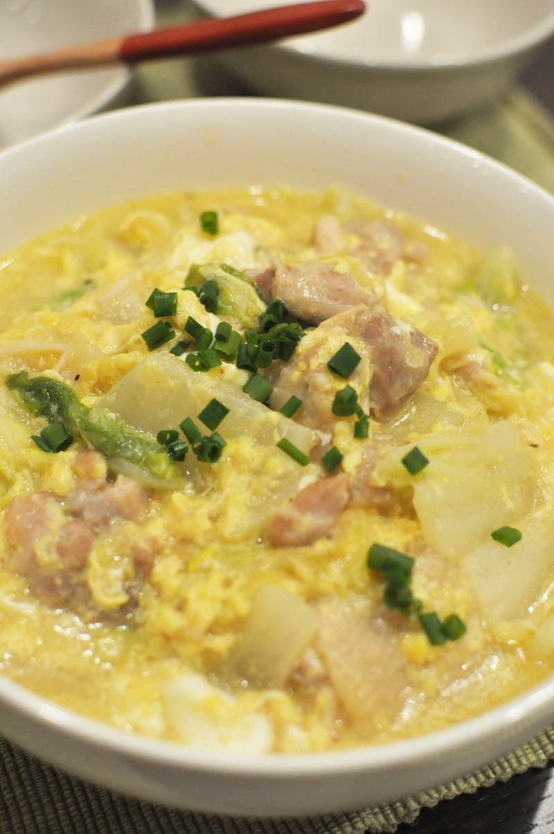 卵入り♪鶏肉と白菜の中華風コーン煮
