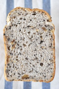 ホームベーカリーで黒ごまくるみ食パン